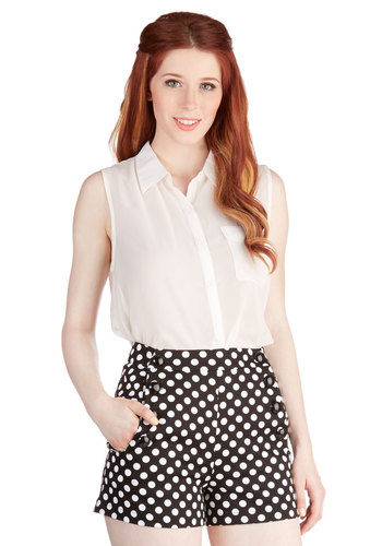 Cheer-Sighted Shorts - High Waist, Good, Black, Short, Cotton, Knit, Black, Polka Dots, Buttons, Pockets, Casual, Beach/Resort, Nautical, Ultra High Rise, White