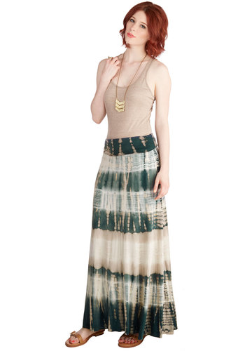 Tell Me a Stormy Skirt - Long, Jersey, Knit, Tie Dye, Casual, Beach/Resort, Boho, Festival, Maxi, Spring, Summer, Good, Brown, Multi, Green, Tan / Cream