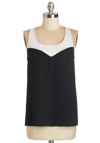 Get a Groove On Top - Woven, Black, White, Solid, Colorblocking, Sleeveless, Exclusives, Black, Sleeveless, Scoop, Mid-length