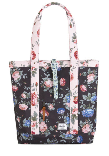 On a Flower Trip Tote by Herschel Supply Co. - Black, Multi, Floral, Work, Colorblocking, Woven, Pink, Travel