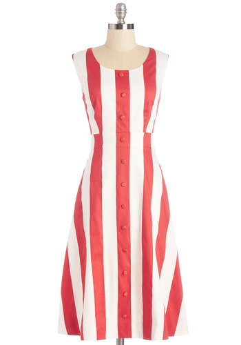 Modern Twirl Dress by Bea & Dot - Long, Woven, Stripes, Buttons, Casual, A-line, Sleeveless, Better, Scoop, Pockets, Exclusives, Private Label, Red, White