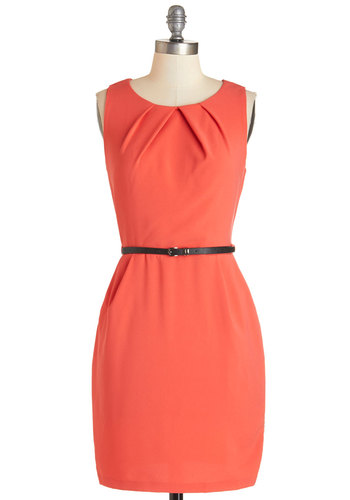 Myriad Moods Dress in Coral - Coral, Solid, Pleats, Pockets, Belted, Work, Shift, Sleeveless, Summer, Knit, Good, Scoop, Mid-length