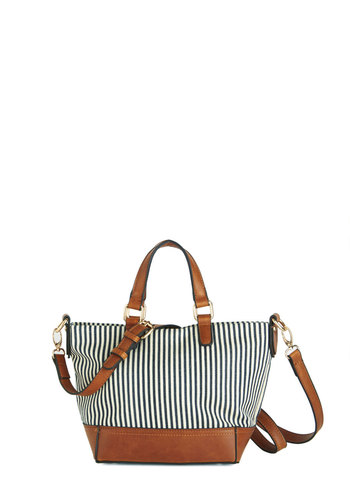Maine Street Style Bag - Blue, Tan / Cream, Stripes, Daytime Party, Beach/Resort, Nautical, White, Faux Leather, Woven, White