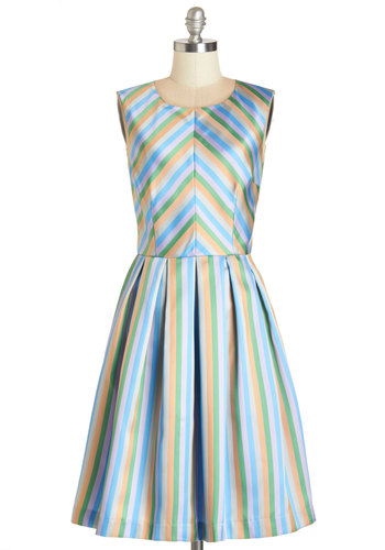Radiant Ribbons Dress by Bea & Dot - Satin, Woven, Multi, Stripes, Special Occasion, A-line, Sleeveless, Better, Pockets, Party, Exclusives, Private Label, Long