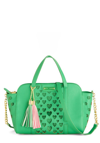 Betsey Johnson Green with Love Bag by Betsey Johnson - Green, Pink, Gold, Solid, Cutout, Tassels, Work, Green