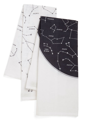 Celestial Chateau Tea Towel Set - Cotton, Woven, Multi, Cosmic, Good, Black, White, Novelty Print