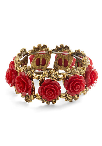 Retro Rosie Bracelet in Red - Red, Solid, Fairytale, Gold, Darling, Flower, Variation