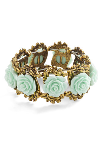 Retro Rosie Bracelet in Mint - Mint, Solid, Fairytale, Darling, Gold, Flower, Variation, Under $20