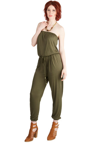Gregarious Gal Jumpsuit - Spring, Summer, Good, Green, Jumpsuit, Long, Jersey, Knit, Green, Solid, Pockets, Casual, Beach/Resort, Boho, Minimal, Ankle, Sleeveless, Safari, Urban, Skinny, Strapless, Festival