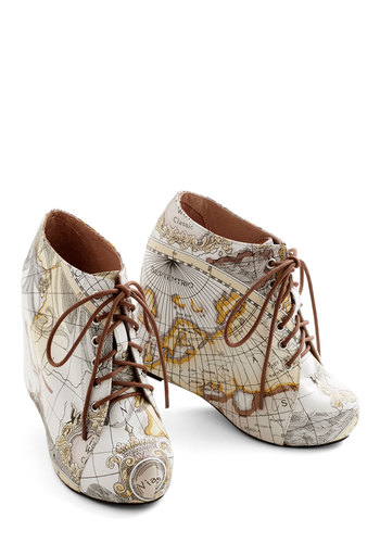 Jeffrey Campbell Mapmaking Your Move Wedge by Jeffrey Campbell - Wedge, Multi, Casual, High, Leather, Travel, Fall