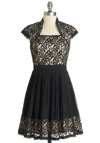 Ever So Lovely Dress - Black, White, Lace, Trim, Prom, Party, A-line, Cap Sleeves, Woven, Better, Lace, Mid-length, Full-Size Run, Cocktail