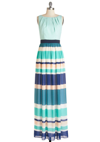 Beachy Inspiration Dress - Multi, Stripes, Casual, Maxi, Sleeveless, Summer, Woven, Better, Long, Chiffon, Blue