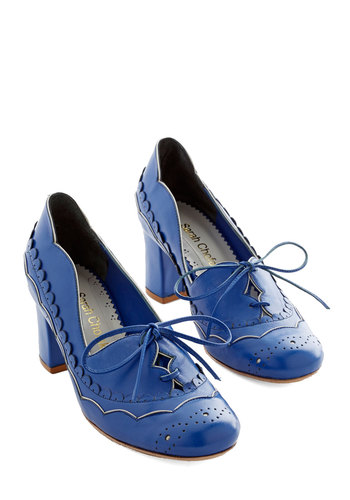 Destined for Adorable Heel - Mid, Leather, Blue, Solid, Scallops, Wedding, Party, Work, Daytime Party, Bridesmaid, Menswear Inspired, Vintage Inspired, 20s, 30s, Darling, Best, Lace Up, Chunky heel