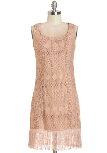Deco Dance Dress - Pink, Solid, Fringed, Lace, Special Occasion, Party, Vintage Inspired, 20s, Shift, Sleeveless, Woven, Better, Scoop, Mid-length, Lace, Pastel