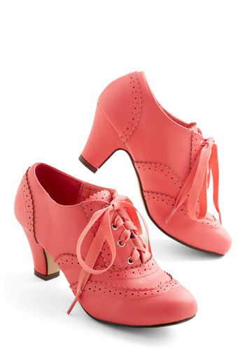 Dance Instead of Walking Heel in Pink - Solid, Vintage Inspired, 20s, 30s, Mid, Lace Up, Good, Pink, Party, Daytime Party, Faux Leather, Variation, Wedding, Exclusives, 60s, Valentine's, Best Seller, Top Rated