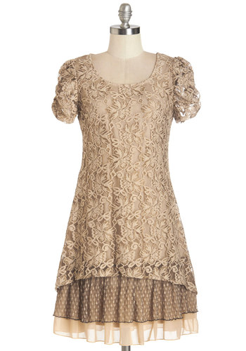 A Date to Celebrate Dress - Brown, Solid, Lace, Tiered, Party, A-line, Short Sleeves, Woven, Better, Scoop, Mid-length, Lace, Ruching, Vintage Inspired, Boho, 20s