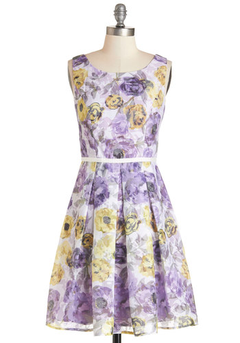 Garden Grace Dress - Multi, Floral, Pleats, Daytime Party, A-line, Sleeveless, Summer, Woven, Better, Scoop, Mid-length, Purple, Graduation