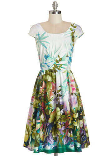 Magnificent Meadow Dress - Multi, Floral, Daytime Party, A-line, Cap Sleeves, Summer, Woven, Better, Scoop, Cotton, Beach/Resort, Long