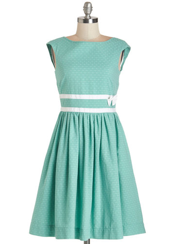 Refreshing Arrival Dress by Bea & Dot - Cotton, Woven, Green, White, Solid, Bows, Trim, Casual, A-line, Sleeveless, Better, Pockets, Daytime Party, Cap Sleeves, Exclusives, Private Label, Full-Size Run, Mid-length