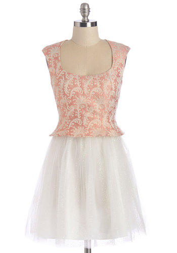 I See Sparkles Fly Dress - Pink, White, Buttons, Special Occasion, Prom, A-line, Sleeveless, Summer, Better, Woven, Tulle, Mid-length, Scoop