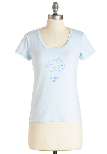Best French Forever Tee in Lapin - Blue, Short Sleeve, Mid-length, Knit, Blue, Print with Animals, Novelty Print, Casual, Critters, Short Sleeves, Spring, Summer, Cotton, Scoop, Pastel, French / Victorian, Exclusives, Variation