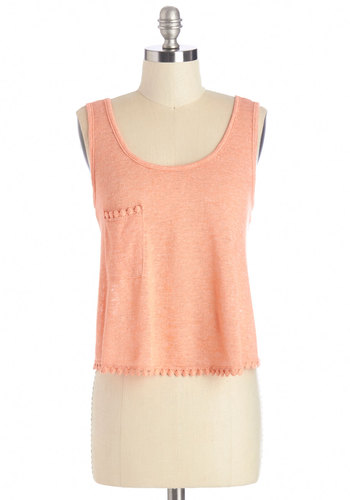 Lemonade Standing Ovation Tank - Orange, Sleeveless, Short, Knit, Pink, Solid, Pockets, Trim, Tank top (2 thick straps), Summer, Scoop