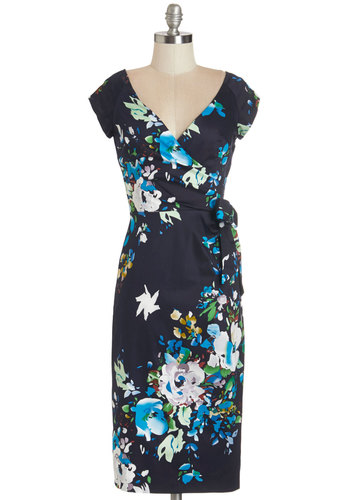 Slice of Layer Cake Dress in Navy - Multi, Floral, Cap Sleeves, Woven, Better, V Neck, Long, Variation, Cocktail, Sheath