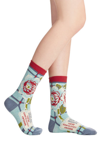 Get Cozy, Cutie Socks - Blue, Multi, Floral, Quirky, Knit, Novelty Print