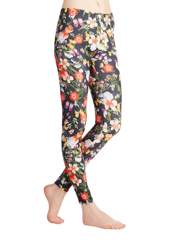 Active Illustrations Leggings - Skinny, Better, Mid-Rise, Black, Knit, Floral, Casual, Daytime Party, 80s, 90s, Cotton, Ankle, Multi, Vintage Inspired, Press Placement, Spring, Summer, Fall