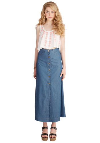 Quite the Conservatory Maxi Skirt - Long, Cotton, Denim, Woven, Blue, Solid, Buttons, Pockets, Casual, Boho, Festival, Maxi, Best, Blue