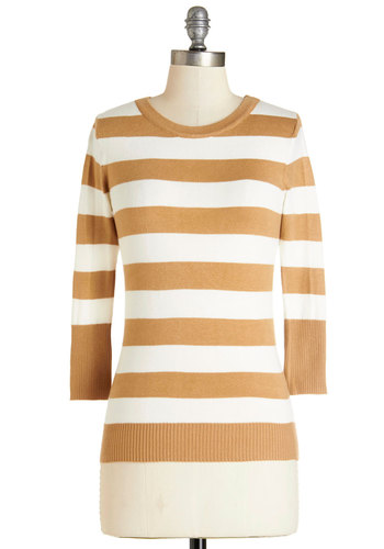 Astute as a Button Sweater in Caramel - Mid-length, Knit, Tan / Cream, White, Stripes, Buttons, Work, Casual, 3/4 Sleeve, Variation