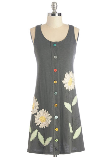 Lounging in Flowers Dress by Heel Athens Lab - Multi, International Designer, Floral, Buttons, Casual, Vintage Inspired, 90s, A-line, Sleeveless, Summer, Knit, Better, Scoop, Mid-length, Eco-Friendly