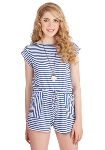 Alive and Wellfleet Romper - Spring, Summer, Good, White, Romper, Long, Jersey, Woven, Blue, White, Stripes, Pockets, Casual, Beach/Resort, Nautical, Cap Sleeves