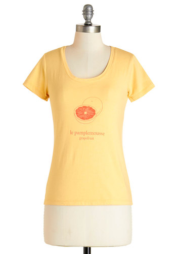 Best French Forever Tee in Pamplemousse - Yellow, Short Sleeve, Mid-length, Knit, Yellow, Novelty Print, Casual, Fruits, Short Sleeves, Spring, Summer, Cotton, Scoop, Exclusives, Variation, French / Victorian