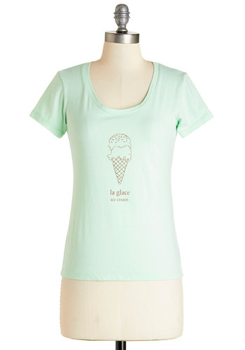 Best French Forever Tee in Glace - Green, Short Sleeve, Mid-length, Knit, Mint, Novelty Print, Casual, Food, Short Sleeves, Spring, Summer, Cotton, Scoop, French / Victorian, Exclusives, Variation