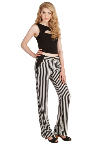 Boy, Oh Voyage! Pants - Wide Leg, Spring, Summer, Good, Low-Rise, Full length, Black/White, Non-Denim, Woven, Stripes, Buttons, Pockets, Party, Work, Nautical, Black, White