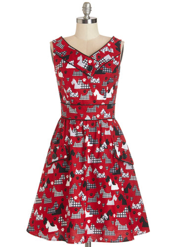 Places to Go, People to See Dress in Scottie - Red, Black, White, Print with Animals, Buttons, Pockets, Trim, Casual, Critters, A-line, Sleeveless, Woven, Better, V Neck, Cotton, Variation, Top Rated, Dog, Full-Size Run, Mid-length