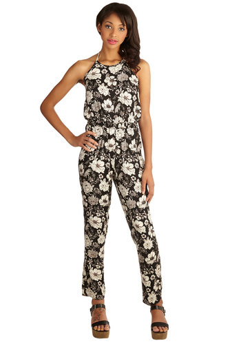 Camouflaged in Flowers Jumpsuit - Long, Woven, Floral, Backless, Casual, Daytime Party, Boho, 70s, Spring, Summer, Good, Halter, Ankle, Black, Jumpsuit, Black, White, Pockets, Vintage Inspired, Festival