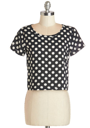 Easy to Spot Top in Black - Short, Knit, Black, Polka Dots, Party, Casual, 80s, 90s, Cropped, Short Sleeves, Spring, Summer, Good, Scoop, Black, Short Sleeve, White, Vintage Inspired, Variation