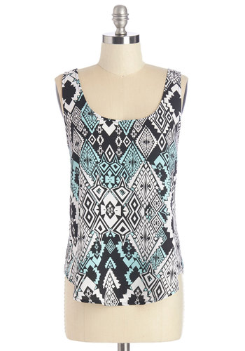 Scene of Diamonds Top - Multi, Sleeveless, Mid-length, Woven, Multi, Blue, Black, White, Print, Casual, Tank top (2 thick straps), Summer, Scoop