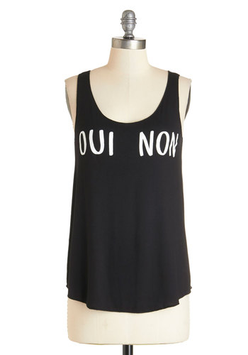 Make Up Your Mind Tank - Black, Sleeveless, Mid-length, Jersey, Knit, Black, White, Novelty Print, Casual, Sayings, Tank top (2 thick straps), Summer, Scoop