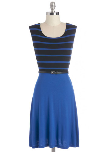 Life in Aquatic Dress - Blue, Black, Stripes, Belted, Casual, A-line, Sleeveless, Knit, Good, Scoop, Nautical, Mid-length