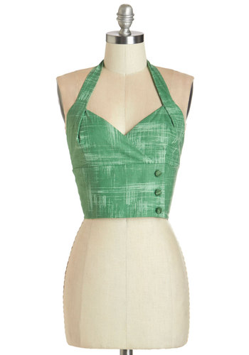 Grass is Greenest Top by Bea & Dot - Short, Cotton, Woven, Green, Other Print, Buttons, Casual, Daytime Party, Beach/Resort, Pinup, Vintage Inspired, Cropped, Halter, Spring, Summer, Better, Sweetheart, Green, Sleeveless, 50s, Variation