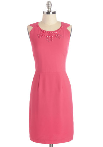 Cue the Bijou Dress - Pink, Solid, Beads, Daytime Party, Shift, Sleeveless, Woven, Better, Scoop, Mid-length, Pockets, Work