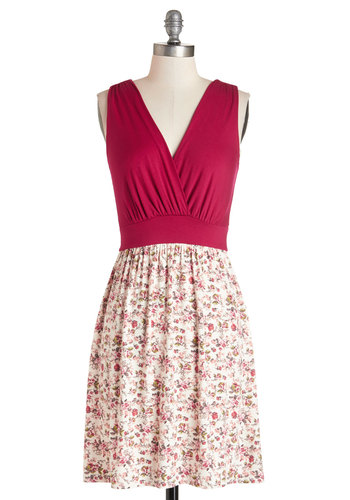 Raspberry Crush Dress - Mid-length, Multi, Floral, Casual, A-line, Sleeveless, Knit, Good, V Neck, Red