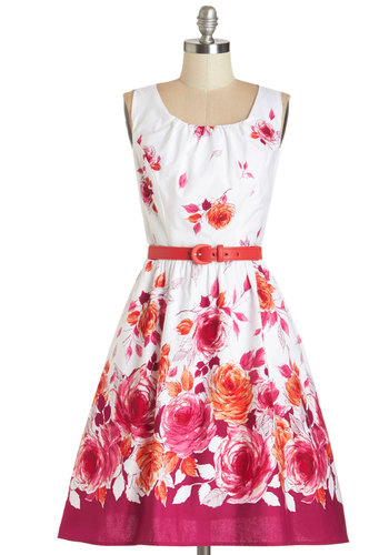 Spellbinding Ability Dress by Myrtlewood - Red, Floral, Belted, Fit & Flare, Sleeveless, Better, Scoop, Daytime Party, Cotton, Woven, Multi, Pockets, Exclusives, Private Label, Graduation, Long