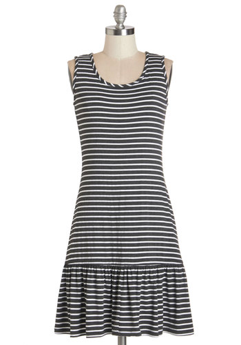 Should I Stay or Should I Row Dress - Grey, White, Stripes, Ruffles, Casual, Beach/Resort, Sleeveless, Knit, Good, Scoop, Nautical, A-line