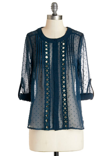 Pick of the Chic Top - Mid-length, Sheer, Woven, Blue, Polka Dots, Trim, Work, 3/4 Sleeve, Spring, Summer, Better, Scoop, Blue, Tab Sleeve