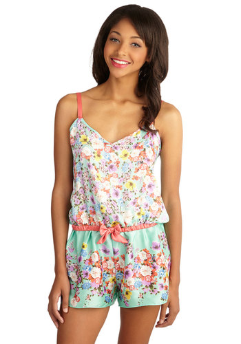 Fleur the Occasion Sleep Romper - Satin, Woven, Multi, Floral, Bows, Trim, Summer, Spaghetti Straps