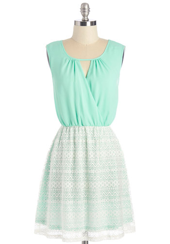 Mo-mint of Truth Dress - White, Mint, Cutout, Lace, Casual, A-line, Sleeveless, Summer, Woven, Good, Short, Lace